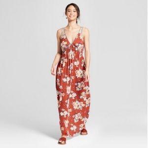 Xhilaration Terracotta Floral Maxi Dress   Size XL